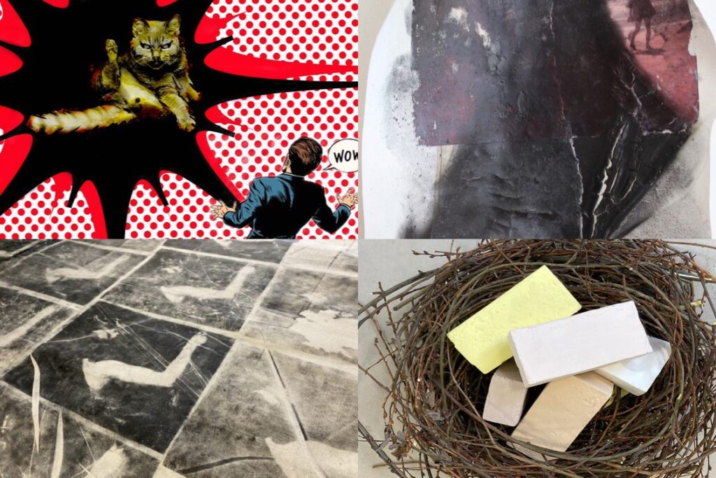 A collage of four artworks; black and white drawing, pop art collage, sculpture showing bricks in a bird's nest and a fragment of a painting.